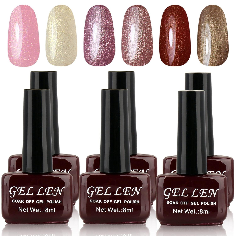 Amazon.com : Gellen 6pcs 8ml Shiny Soak Off Gel Nail Polish UV Gel ...