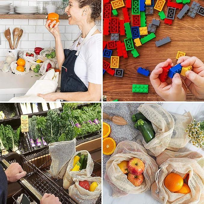 Sacchetti per Alimentari in Cotone Organico Lavabile per la Spesa Verdura e Giocattoli flintronic/® Sacchetti di Frutta e Verdura 7 Pezzi Conservare Frutta Borse per Prodotti riutilizzabili