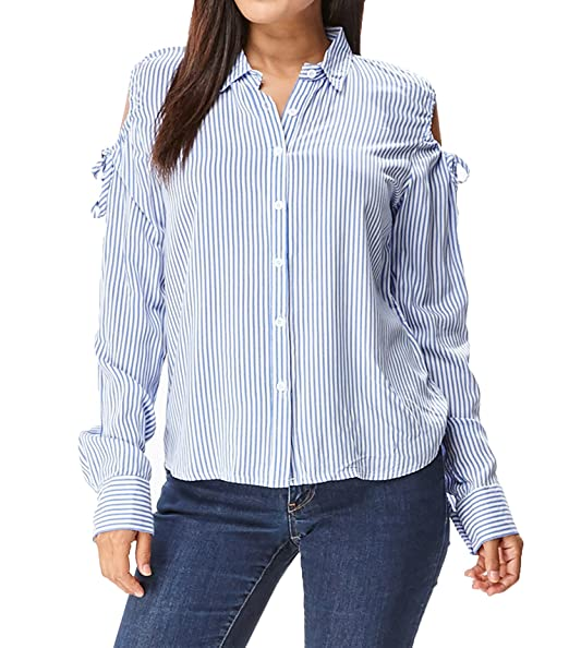 1875f8b416561 in2you Cold Shoulder Button Down Stripe Shirt (Large