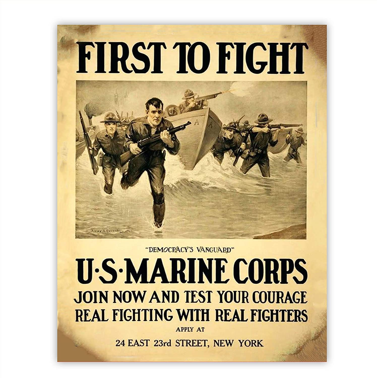 """""""First to Fight-U.S. Marine Corps"""" Vintage Poster Print-8 x 10"""" Wall Decor-Ready To Frame. Antique Recruitment Poster. Retro Military Decor for Home-Office-Cave. Perfect Gift for All Leathernecks!"""