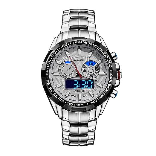 b8813e2bf3 [6.11]メンズ 多機能 防水腕時計 デジタル クロノグラフ アナログ ledライト スポーツ ビジネス