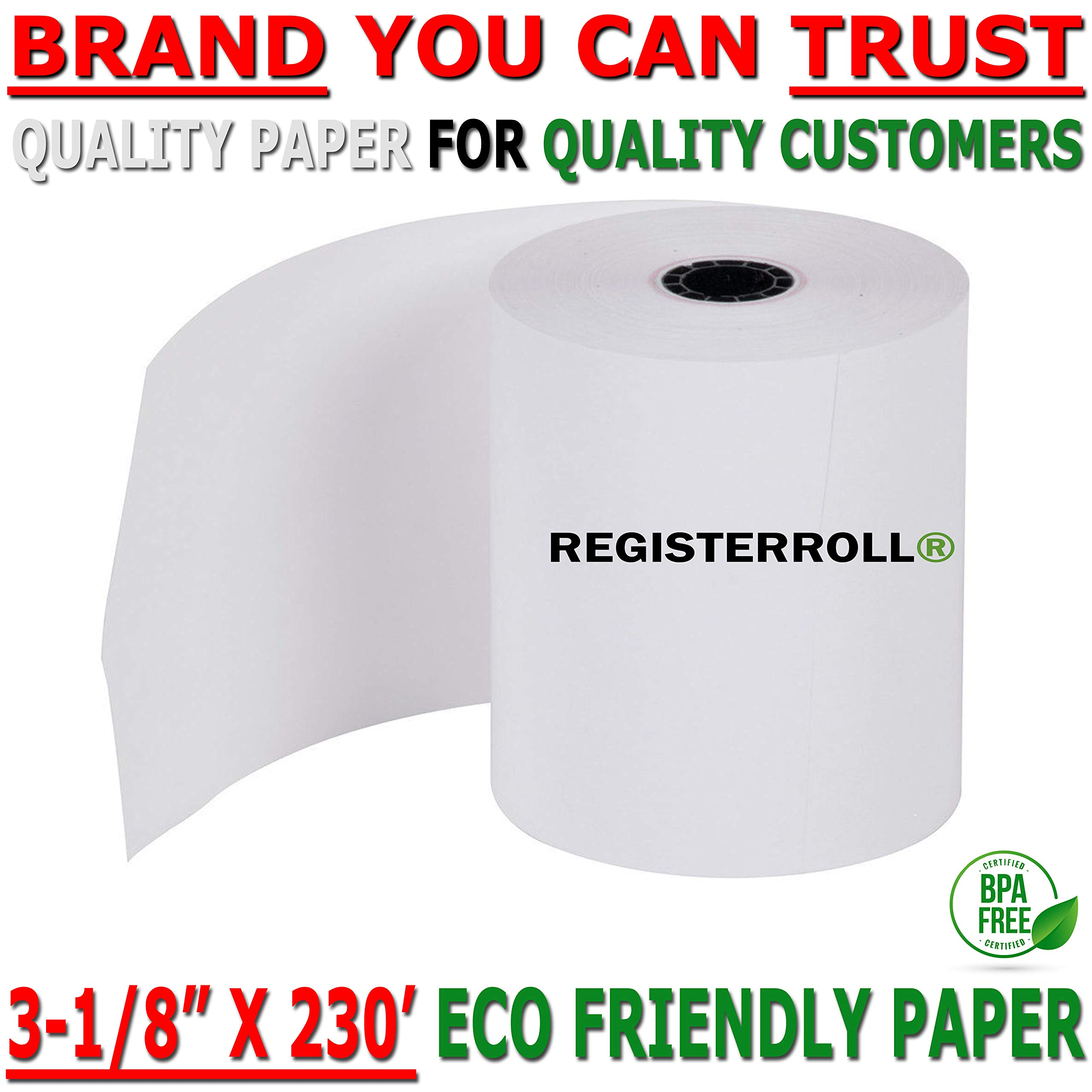 Universal 35763 Single-Ply Thermal Paper Rolls, 3 1/8'' x 230 ft, White, 50/Carton from RegisterRoll