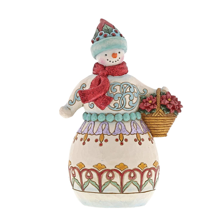Department 56 Enesco Jim Shore Heartwood Creek Wonderland Snowman w/Basket Decorazione,, Taglia Unica Department56 6001421