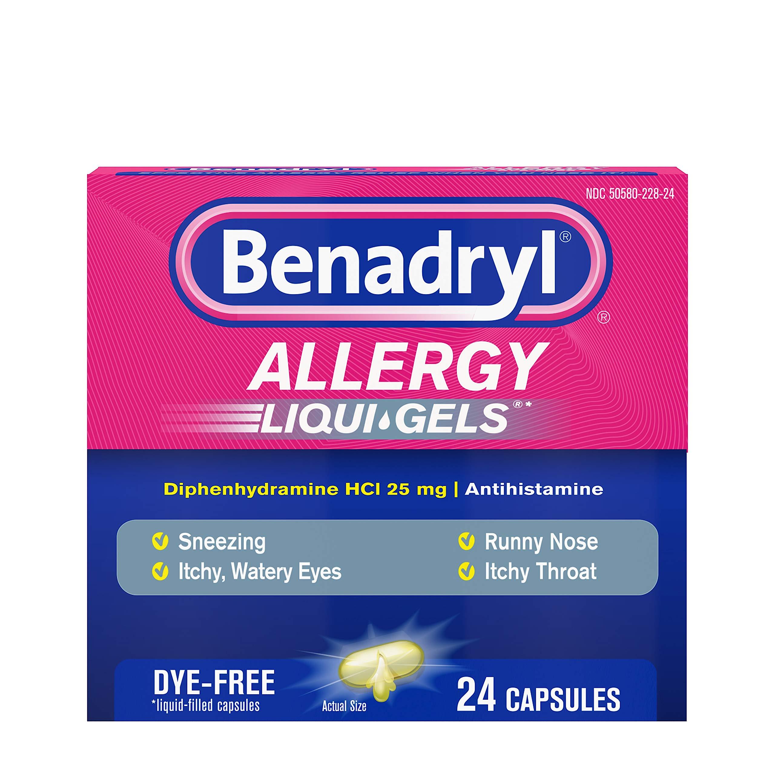 Benadryl Liqui-Gels Antihistamine Allergy Medicine & Cold Relief, Dye Free, 24 ct