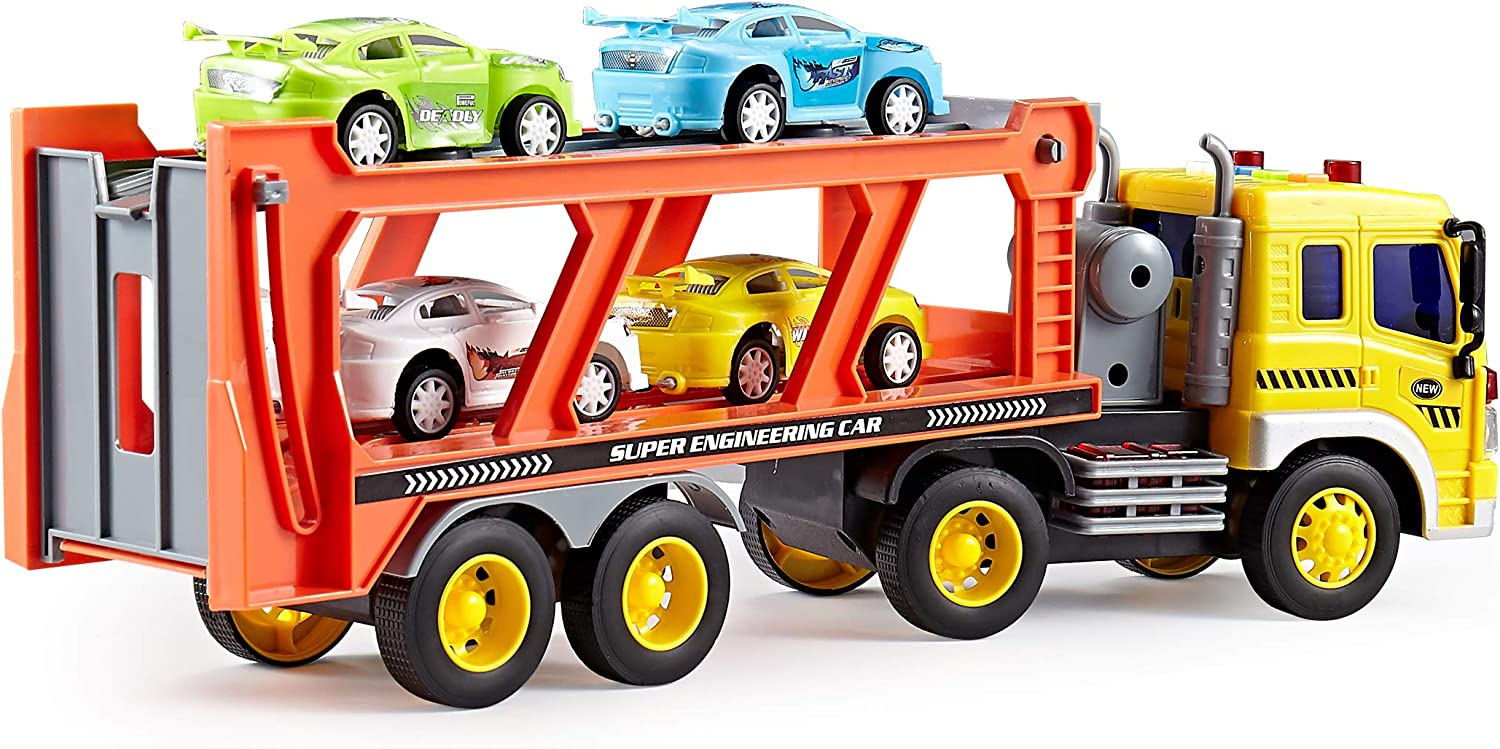 UMKY Tow Truck Car Transporter With Die cast sports car