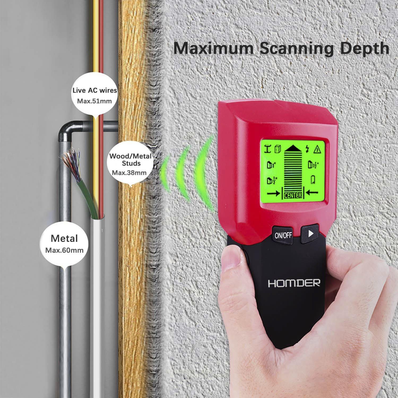 Homder - Detector de metales 3 en 1 de pared de Homder. Detector de cables, alambre, madera, multiescaneador para pared y techo con LCD y alerta por pitido: ...