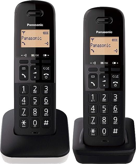 Panasonic KX-TGB612 - Teléfono Fijo inalámbrico dúo, Bloqueo de Llamadas, 18 Horas de conversación, 200 Horas en Espera, Agenda 50 Contactos, Resistencia a caídas, Color Blanco: Amazon.es: Electrónica