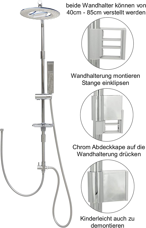 Duschsystem Regendusche Set 100cm Duschstange mit /Überkopfbrause h/öhenverstellbare Wandhalterung in Chrom
