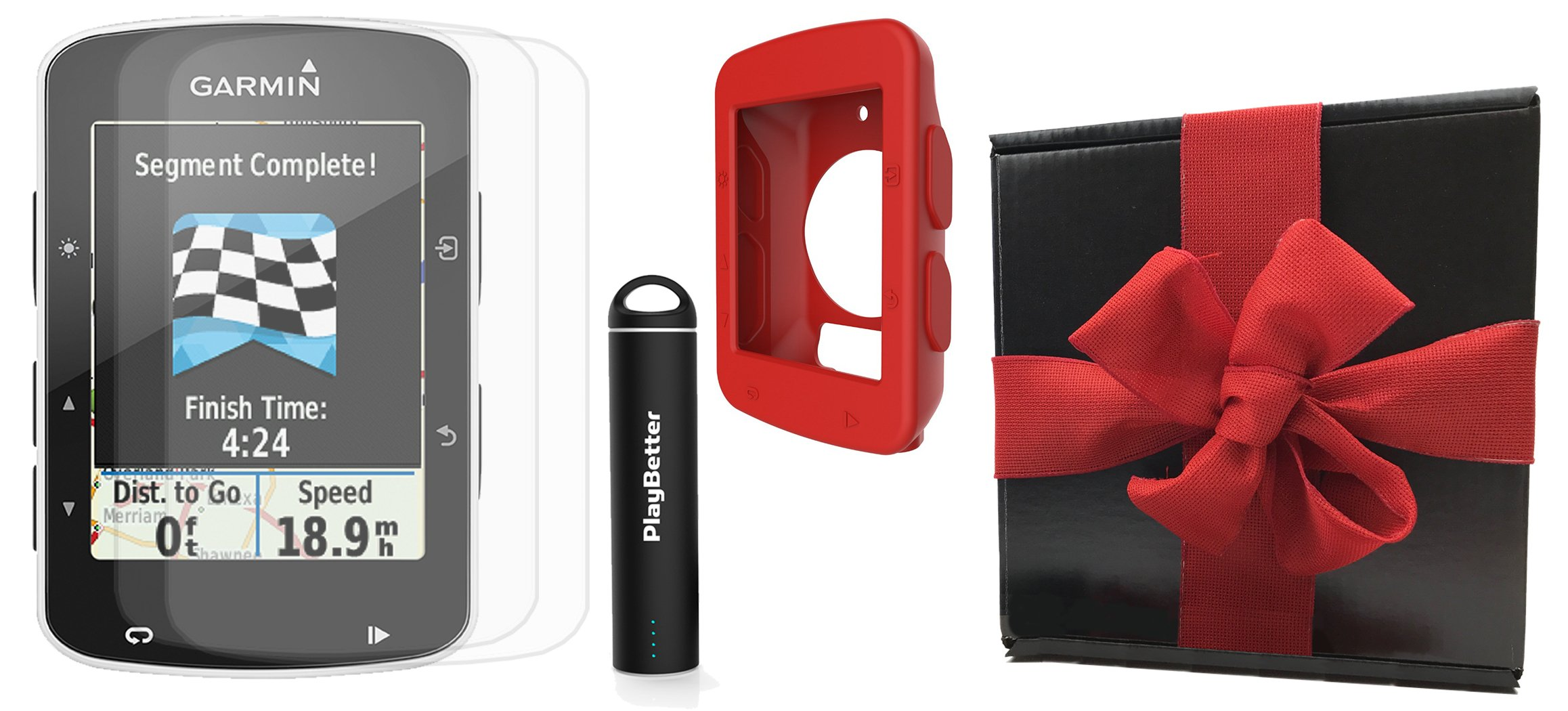 Garmin Edge 520 Gift Box Bundle | with PlayBetter Silicone Case, Portable Charger & HD Screen Protectors | Bike Mounts | GPS Bike Computer | Gift Box (Red, GPS Only)