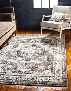 Unique Loom 3134099 Sofia Collection Traditional Vintage Beige Area Rug, 8' 0 x 10' 0 Rectangle, Light Brown