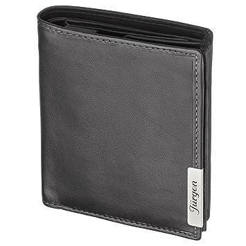 55a9fdfdaefa68 Cadenis Herren Leder Geldbörse Geldbeutel mit Laser-Gravur aus Rindnappa schwarz  Hochformat 12,5