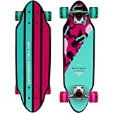 "Kryptonics Mini Cutaway Cruiser Skateboard - Complete 26"" Cruiser Board for Kids & Teens- Mermaids"