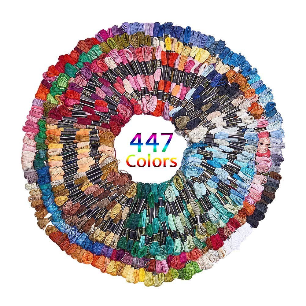 BENECREAT 450 Skeins Multi-Color Sewing Threads Embroidery Floss Cross Stitch Threads Friendship Bracelets Floss for Crafts Making - 447 Colors by BENECREAT