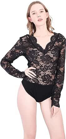 Encaje Bodys Mujer Manga Larga Sexy Elegante Fiesta Negro Vestir Camiseta Body Tanga Ropa Talla Grande