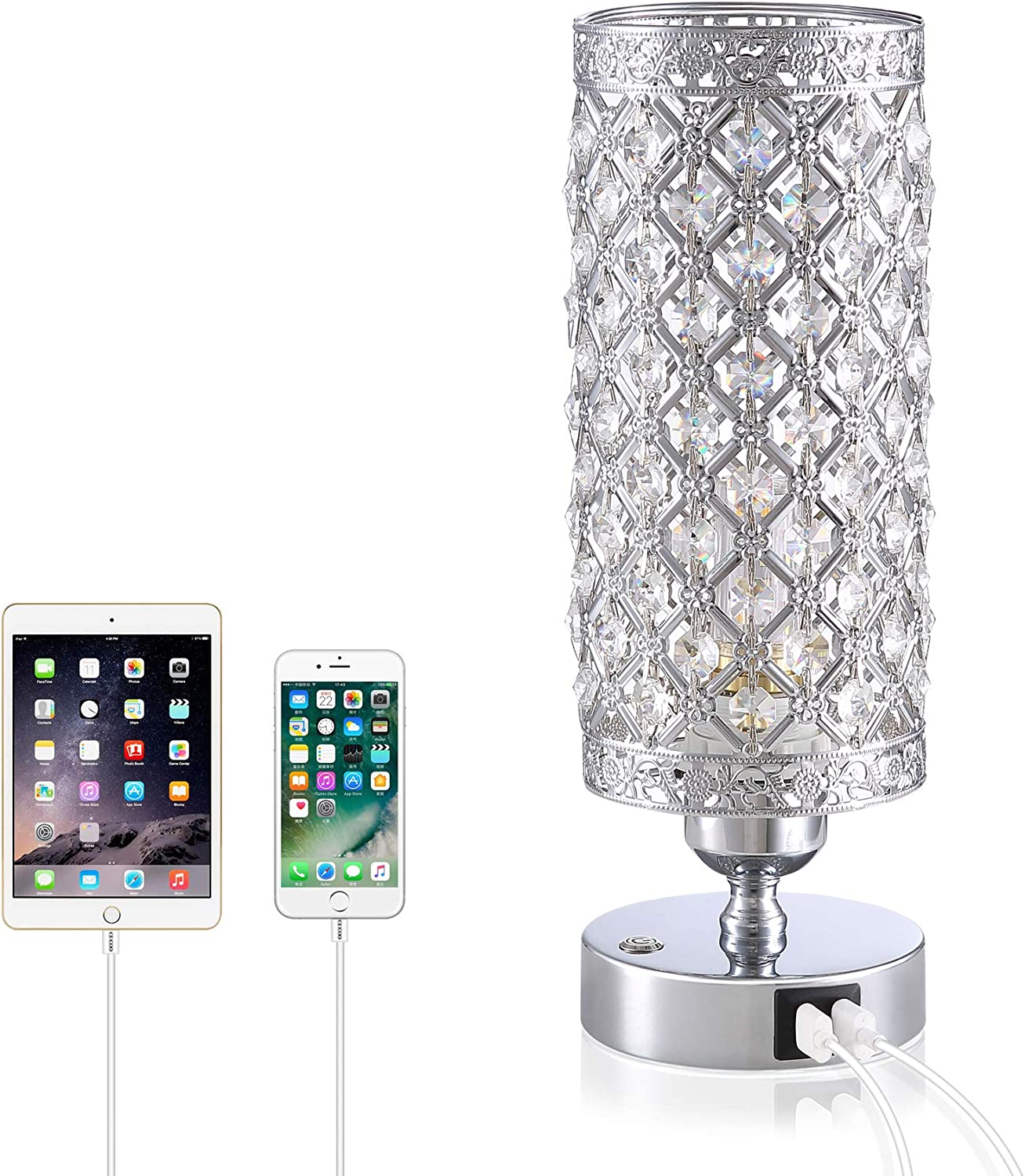 Crystal Bedside Table Lamp - Yarra Decor 3-Way Color Changing Lamps for Bedroom Modern USB Nightstand Lamp with Sliver Crystal Shade Decorative Lamps for Living Room, Kids Room(LED Bulb Included)