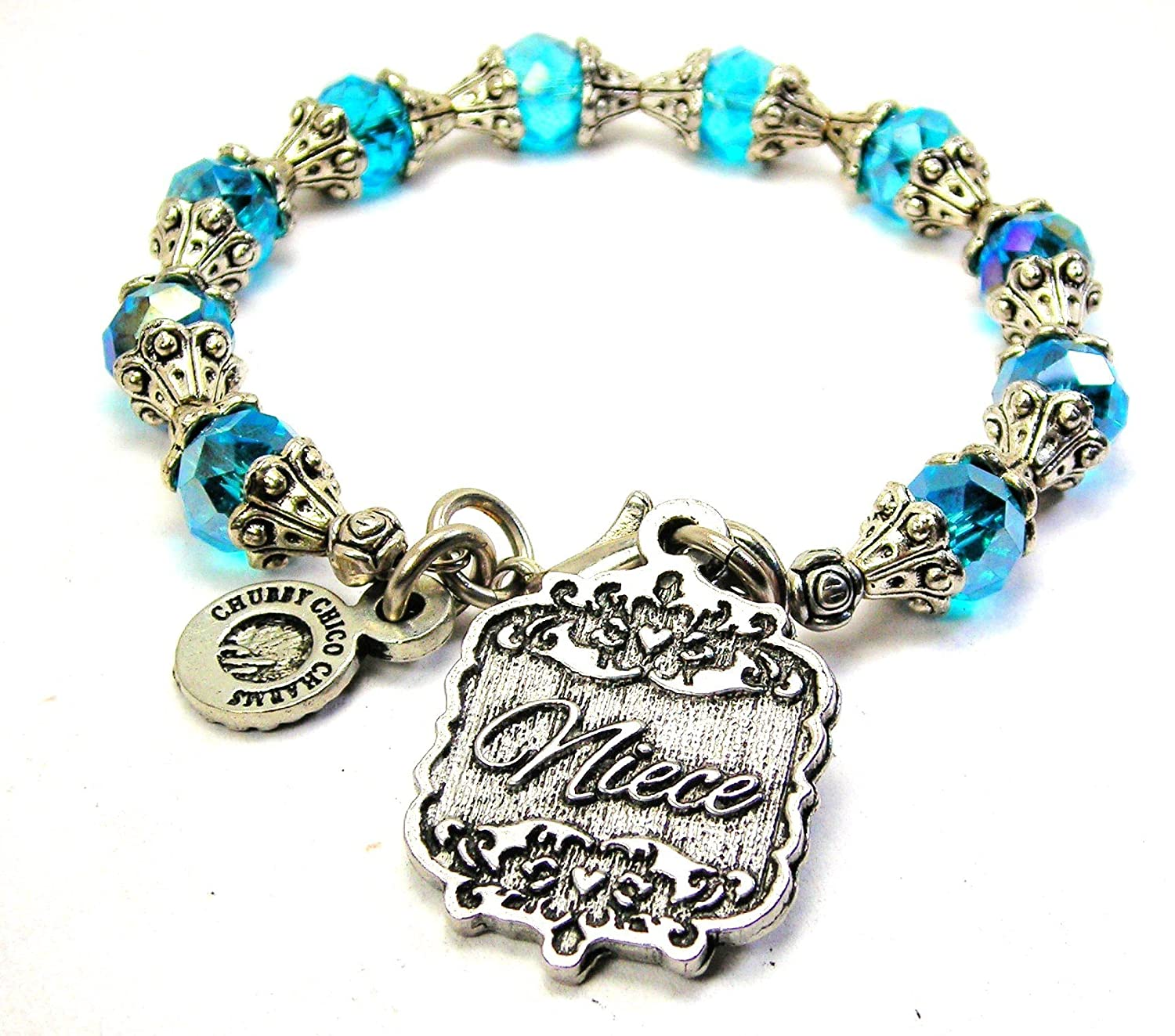Chubby Chico Charms Niece Victorian Scroll Capped Crystal Bracelet in Aqua Blue