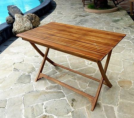 Mesa plegable de jardín madera de teca encerada-120-70: Horta cm ...