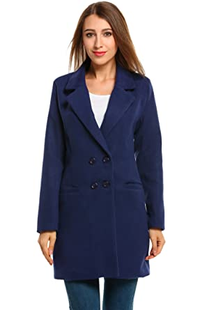 0102bcc08 Hotouch Women Double Breasted Long Coat Wool Blended Winter Overcoat Jacket