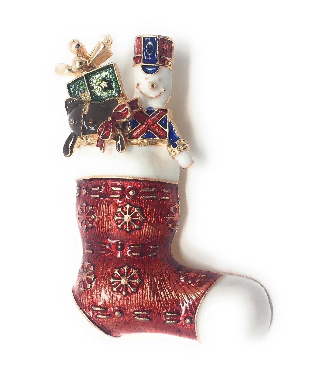 Métal Couleur Doré Stockage Avec Des Jouets Broche 5.0 x 3.5cm Noël Rouge Présent Cadeau Épingle Casse-Noix Cadoline CB3