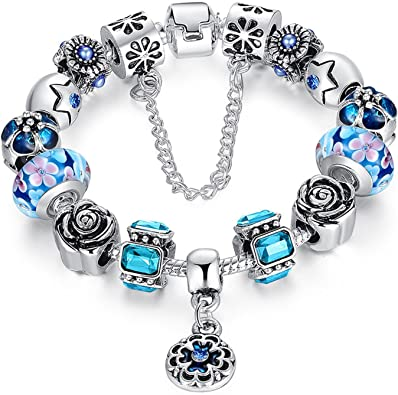 Blue Pink Green Flower Rose Murano Glass Bead for Silver European Charm Bracelet Fashion Jewelry for Women Man