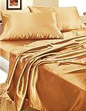 Completo MATRIMONIALE RASO ORO set lenzuola sopra sotto con angoli 2 fodere cuscini