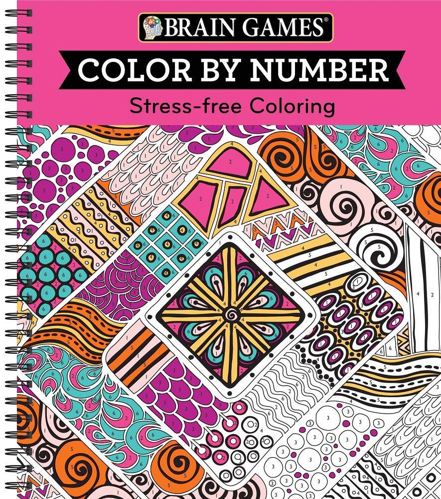Amazon.com: Brain Games® Color by Number: Stress-Free Coloring (Pink ...