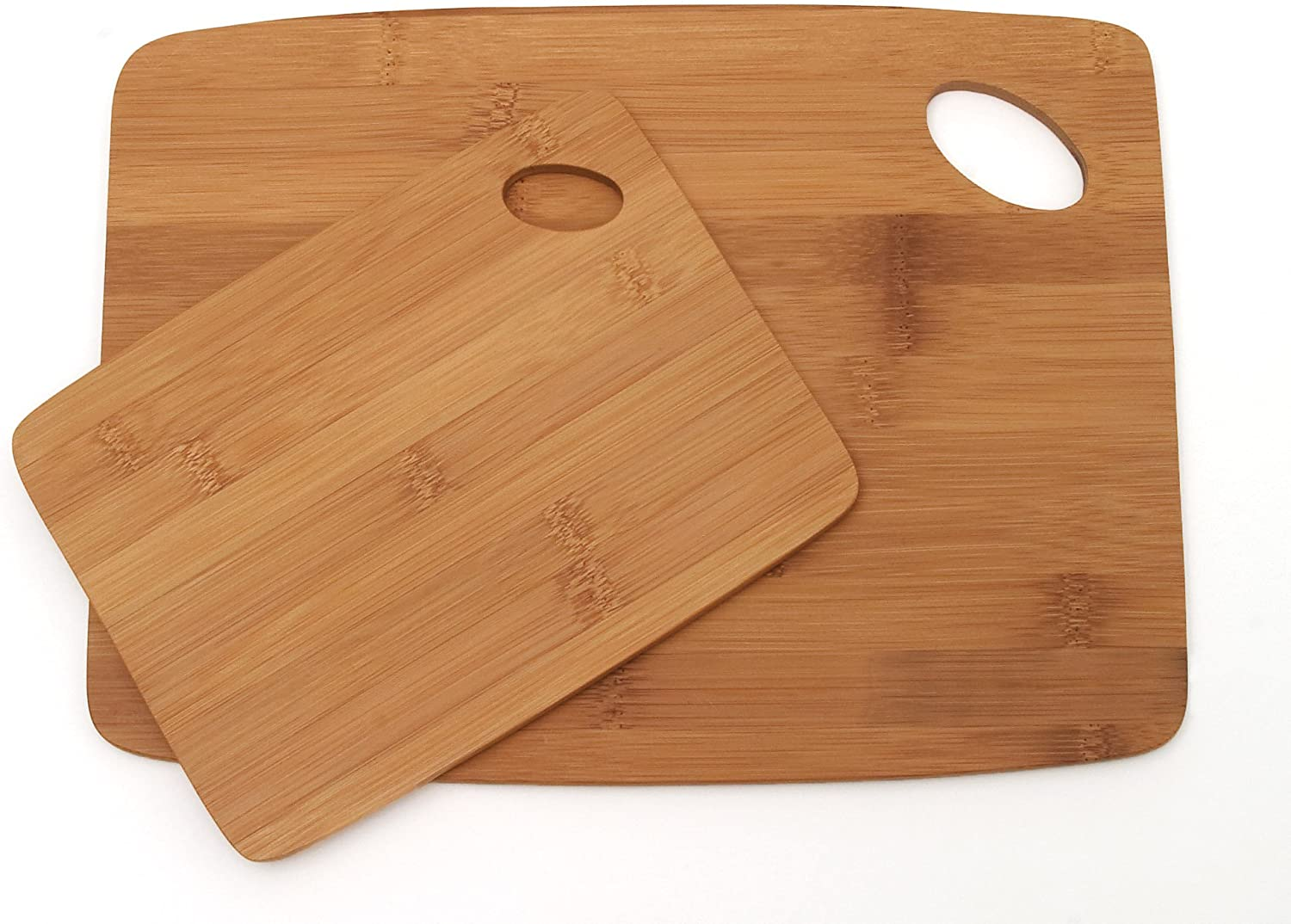 """Lipper International 859 Bamboo Wood Thin Kitchen Cutting Boards with Oval Hole in Corner, Set of 2 Boards, 6"""" x 8"""" and 9"""" x 12"""""""
