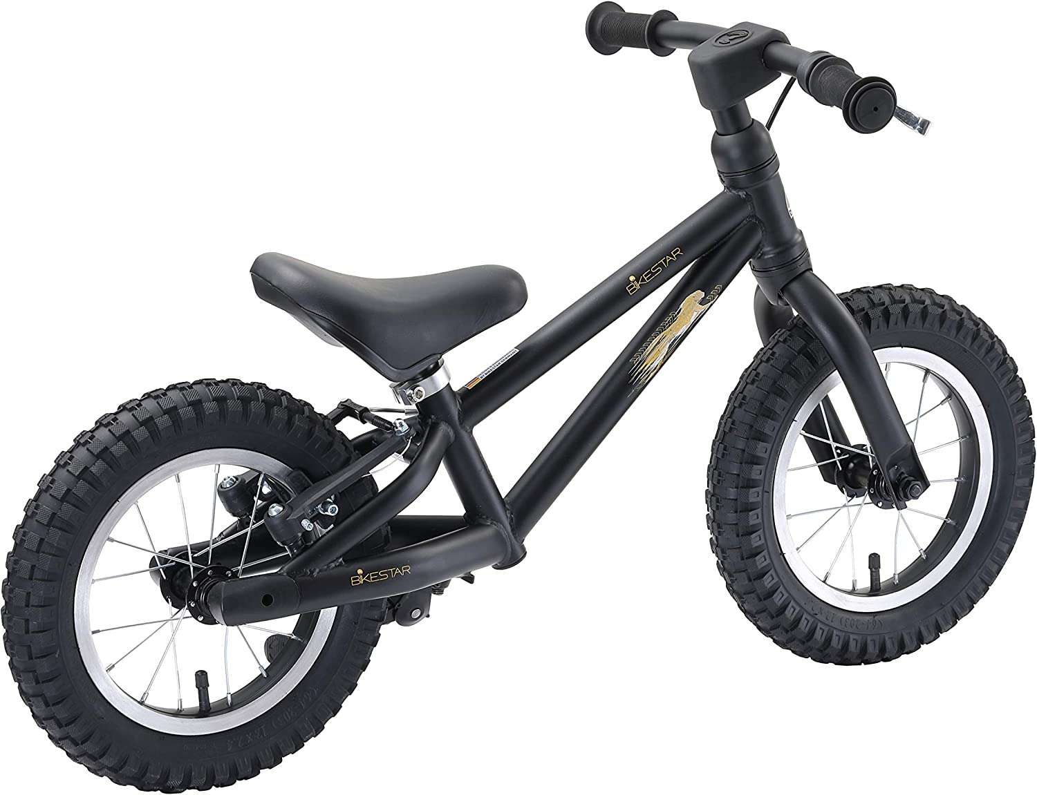 12 Inch Mountain Edition BIKESTAR Kids First Running Balance Bike with brakes and with air tires for Kids age 3 year old boys girls