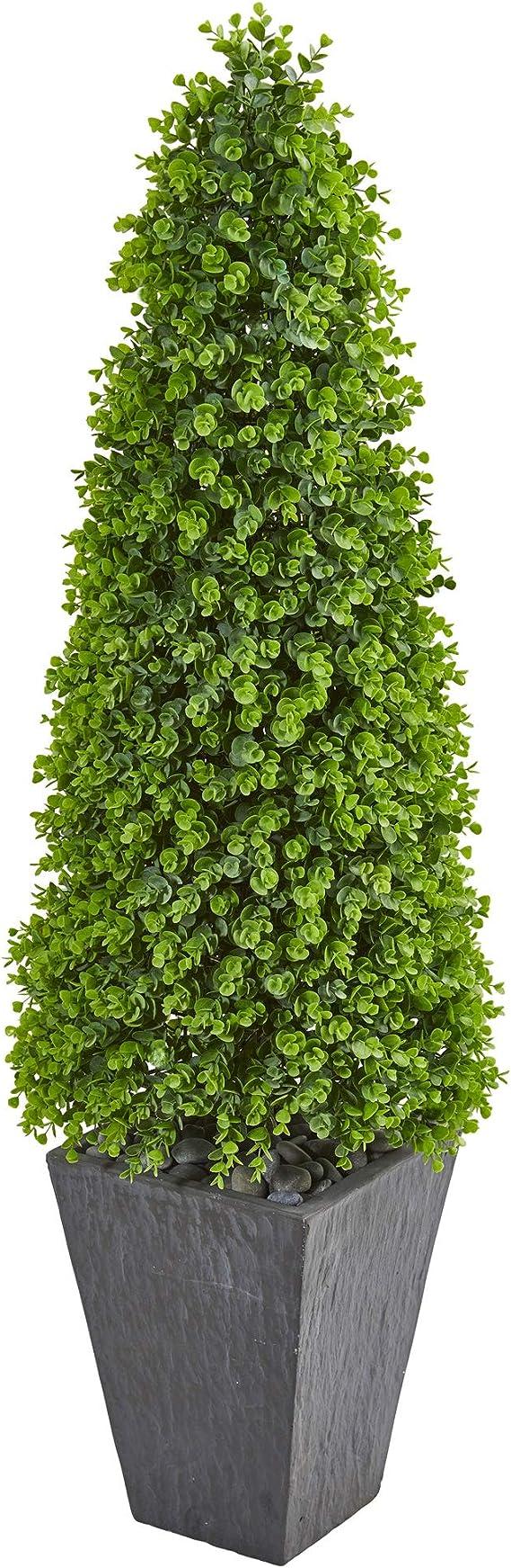Nearly Natural 57 Eucalyptus Topiary Artificial Slate Planter Indoor Outdoor Silk Trees Green Amazon Com