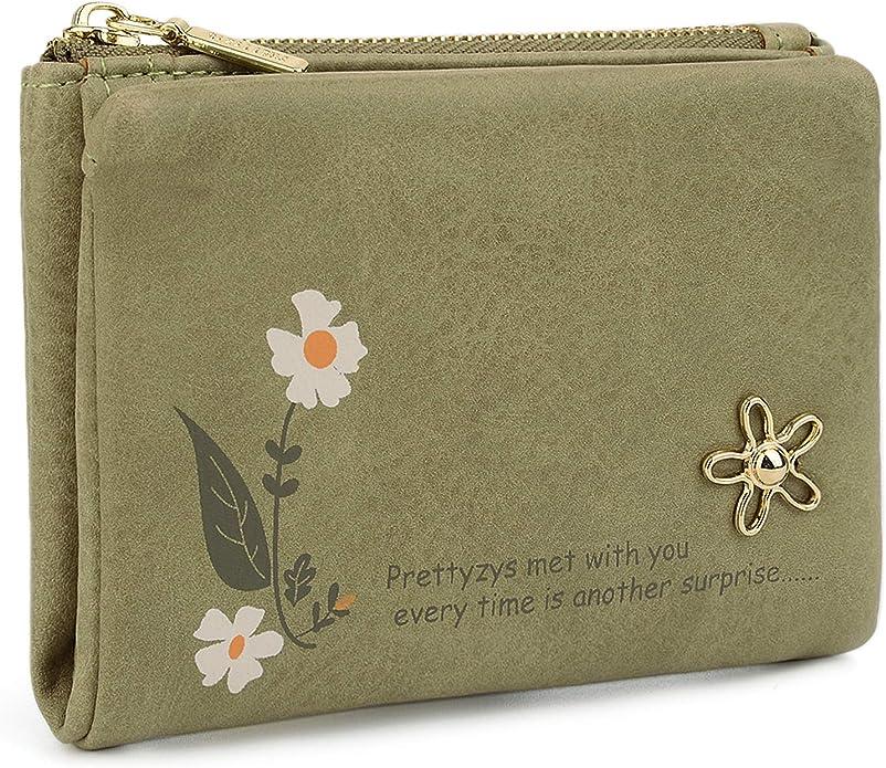 UTO Small Wallet for Women PU Leather Flower Card Holder Organizer Zipper Coin Cute Purse CA