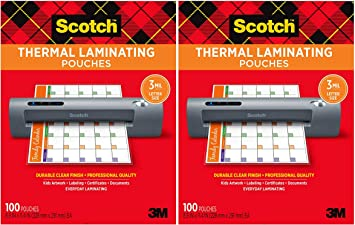 Scotch Thermal Laminating Pouches Letter Size Sheets 100-Pack 8.9 x 11.4 inches TP3854-100