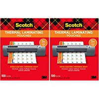 $21 » Scotch Thermal Laminating Pouches, 100-Pack, 8.9 x 11.4 inches, Letter Size Sheets (2-Pack)