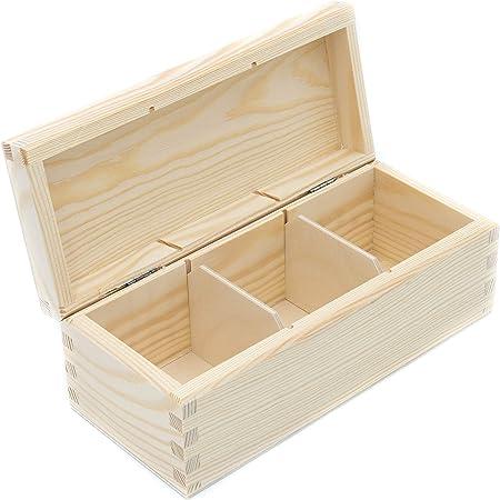 Caja de madera, soporte para almacenamiento de té de 1 a 12 compartimentos, caja de bolsitas, organizador de madera (3 compartimentos): Amazon.es: Hogar