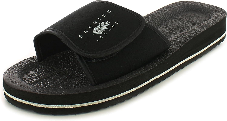 Tailles UK 6-12 Neuf pour Hommes//Hommes Noir /à Enfiler Claquettes de Bain Fermeture Scratch Tongs Noir//Blanc