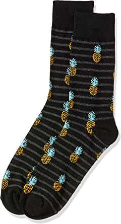 Van Heusen Men's Pair of Socks Pineapples, Black, One Size