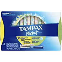 Tampax Pocket Pearl Plastic Tampons Regular/Super Multipack, Unscented, 34 Count (Packaging May Vary)