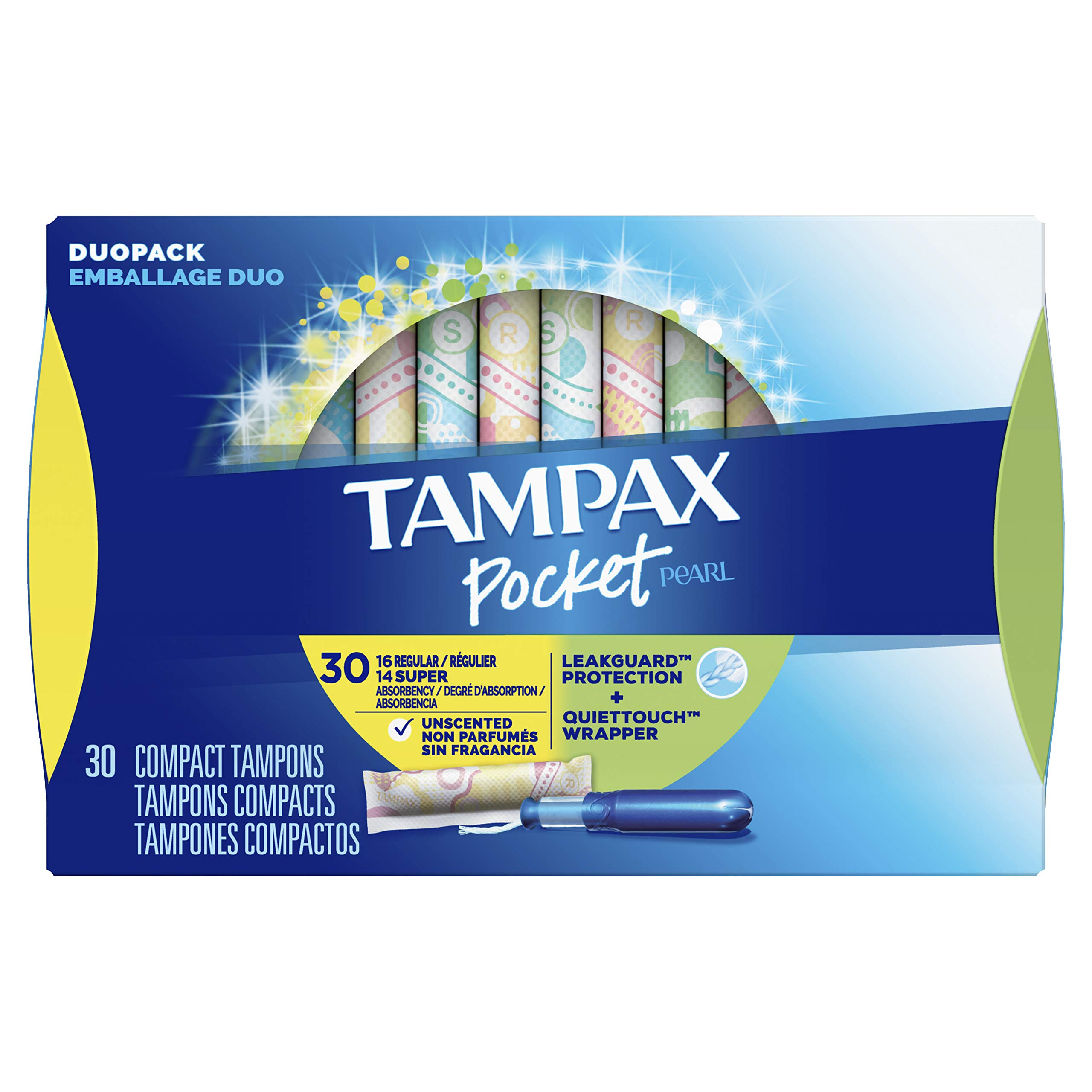 TAMPAX Pocket Pearl, Duopack (Regular/Super), Plastic Tampons, Unscented, 30 Count  (Packaging May Vary)