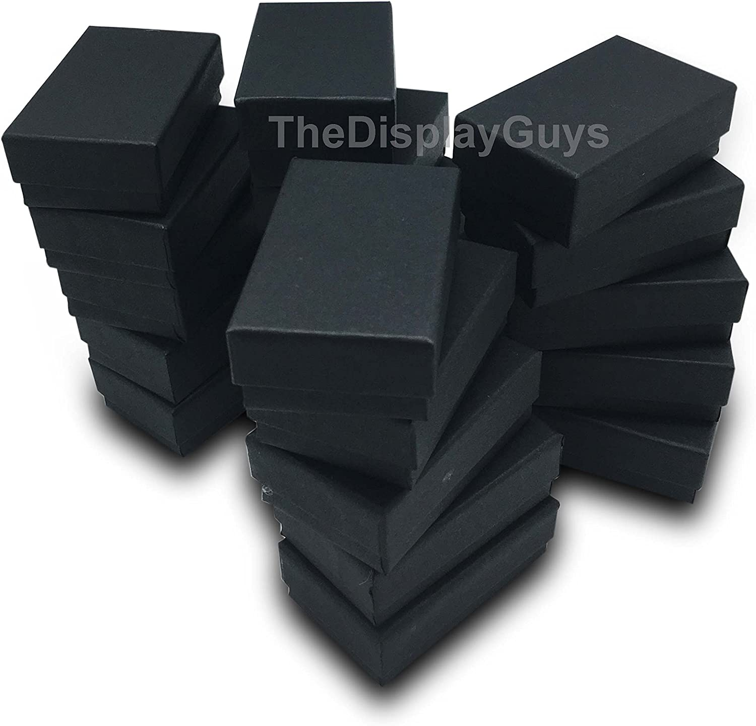 "The Display Guys – Cardboard Jewelry Boxes With Cotton – 100 Pack – Matte Black – #21 (2 5/8"" x 1 5/8"" x 1""): Home & Kitchen"