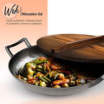 Amazon Com Nutrichef Pre Seasoned Cast Pan 5 8 Qt Heavy Duty Non Stick Iron Chinese Wok Or Stir Fry Skillet W Wooden Lid For Electric Stove Top Induction Large Black Kitchen Dining