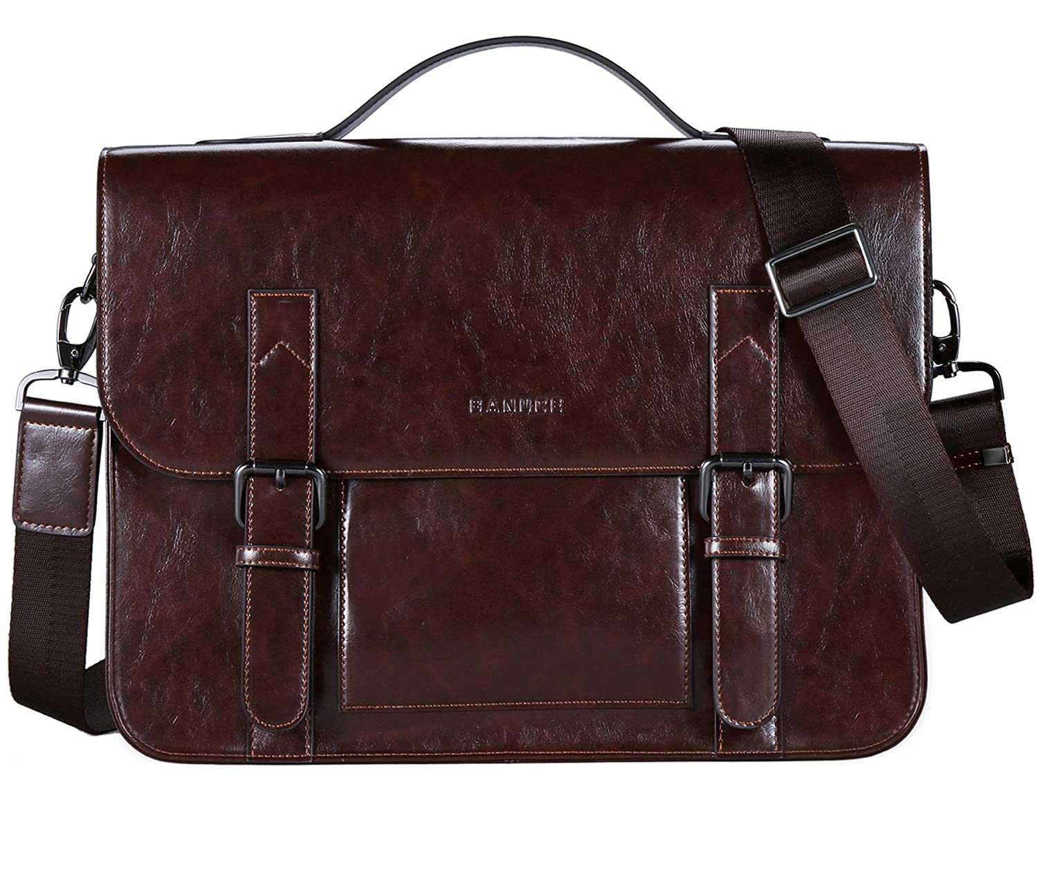 Banuce Vintage PU Leather Tote Briefcase for Men Laptop Shoulder Messenger Bag RTXCXBM113-BN