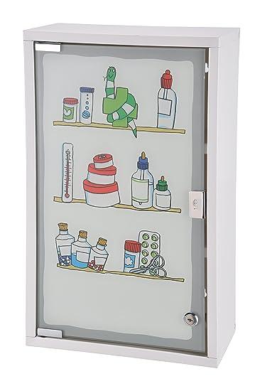 Bagnoxx Medizinschrank Glastür Schrank bedruckt, Verbandskasten ...