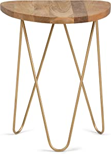 SIMPLIHOME Patrice Mid Century Modern 18 inch Wide Metal and Wood Accent Side Table in Natural, Gold, End, Accent, Bed Side Table, for the Living Room and Bedroom