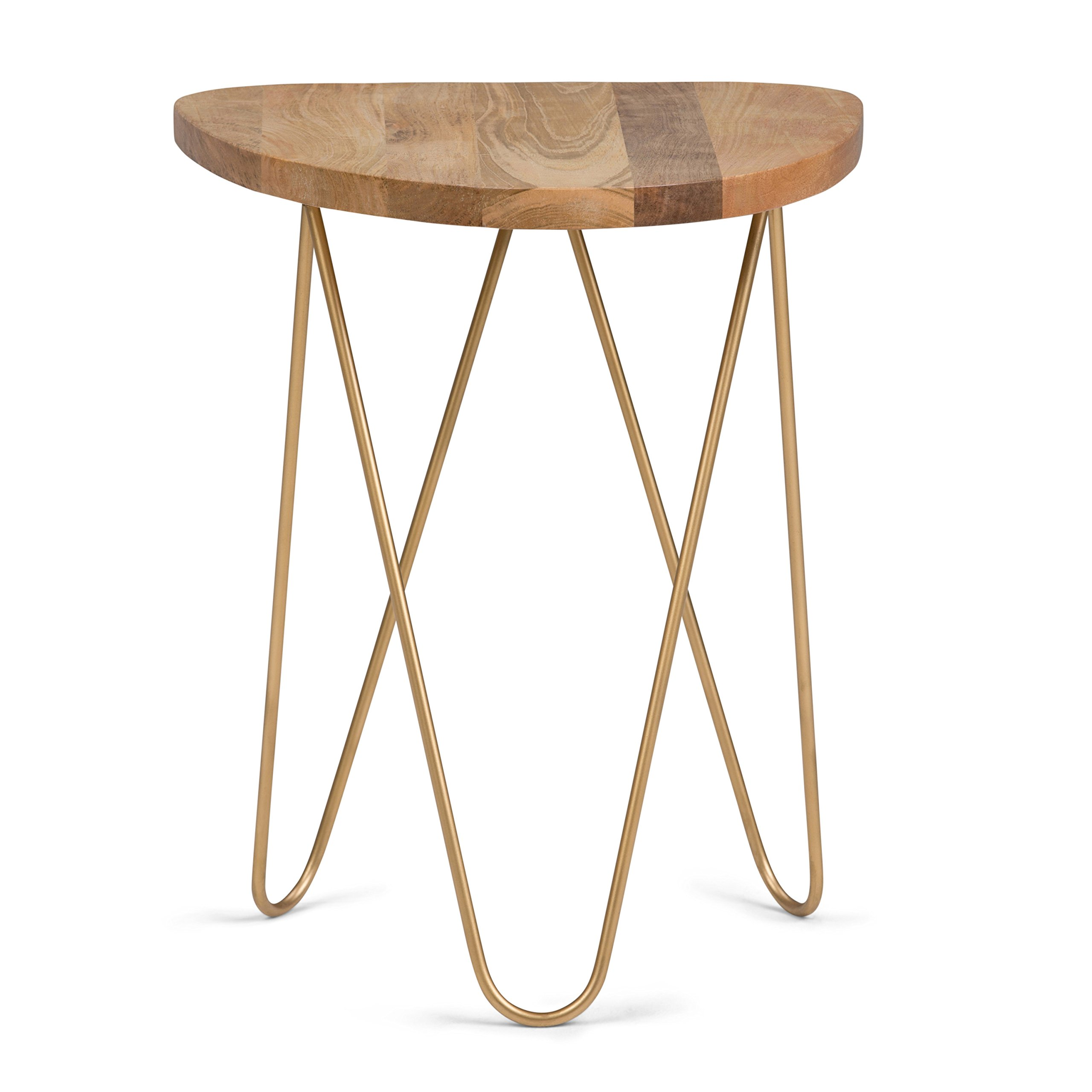 Simpli Home AXCMTBL-17 Patrice Mid Century Modern 18 inch Wide Metal and Wood Accent Side Table in Natural, Gold by Simpli Home