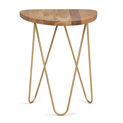 Simpli Home AXCMTBL-17 Patrice Mid Century Modern 18 inch Wide Metal and Wood Accent Side Table in Natural, Gold