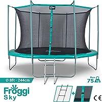 FROGGI Trampoline d'extérieur Sky - 244cm Norme CE - Structure Garantie 5 Ans Charge Max : 100 kg