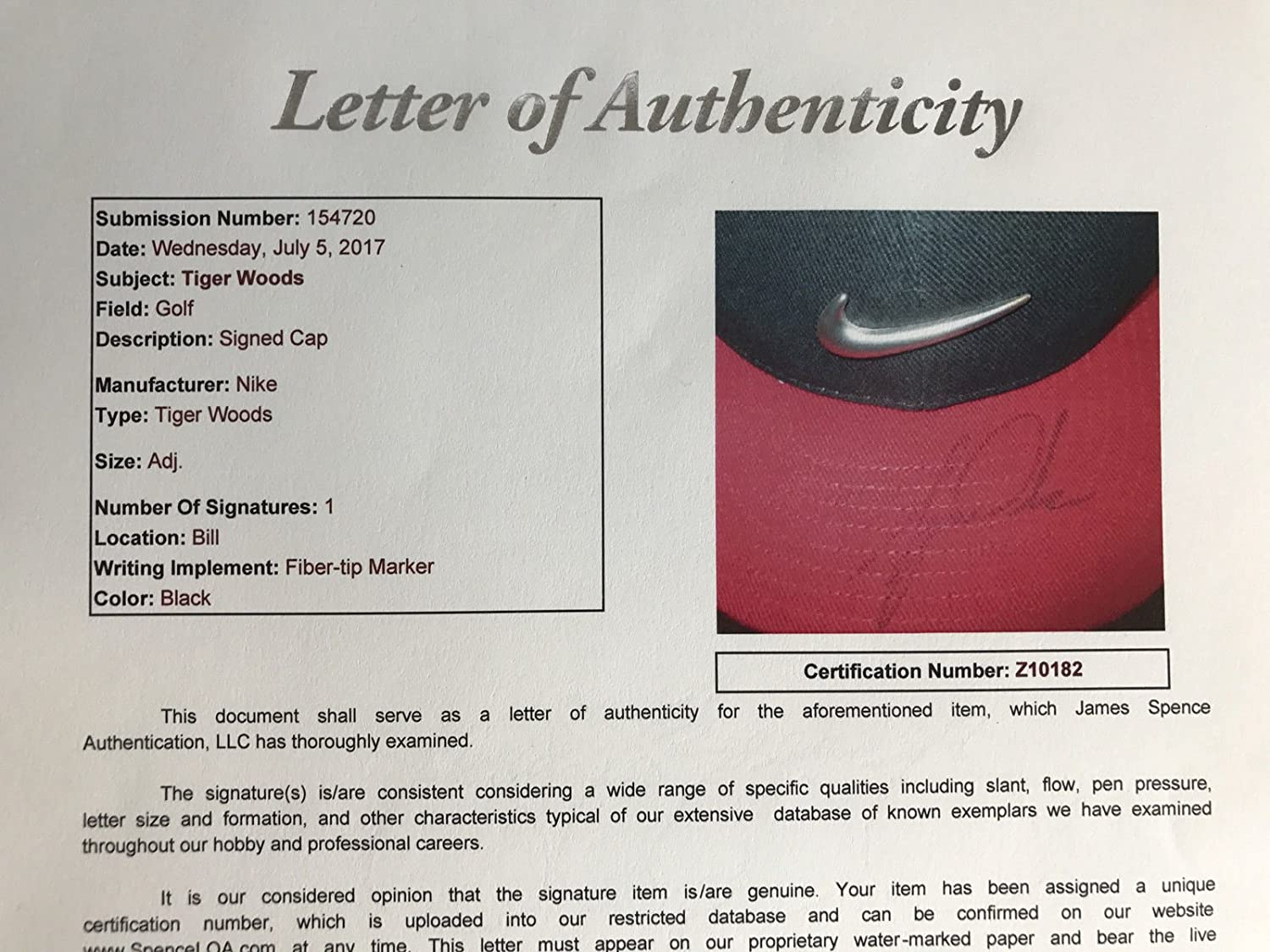 b969bb4b5a44c TIGER WOODS SIGNED NIKE HAT JSA COA AUTOGRAPHED AUTHENTIC WITH TAGS GOLFER  at Amazon s Entertainment Collectibles Store