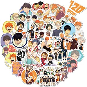 Haikyuu Stickers, Bibonse 120PCS Japanese Anime Waterproof Vinyl Stickers for Kids Teens Home School Decor Water Bottle Computer Skateboard Walls Window and More