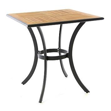 Nexos Gartentisch Teak Tisch Eckig Aluminiumgestell Teak Holz Platte Robust Balkontisch Terrassentisch 71 X 71 Cm Braun