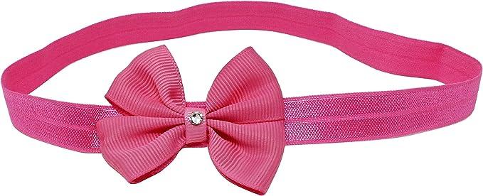 Hot rosa doppio fiocco con Swarovski diamante della neonata fascia per capelli fascia elastica in nylon fatta a mano