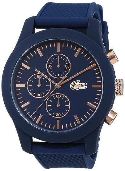 Lacoste 2010827 - Reloj analógico de pulsera para hombre, esfera con cronógrafo, correa de silicona,Azul(Azul/Rosa Oro): Amazon.es: Relojes
